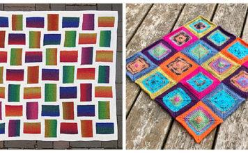 Patchwork Squares Blanket Free Knitting Pattern