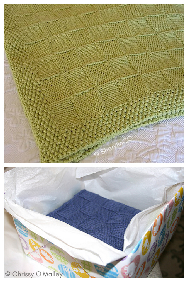 Reversable Basketweave Blanket Free Knitting Pattern