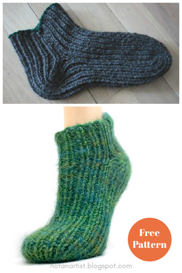 Simple 2-Needle Slipper Socks Free Knitting Pattern