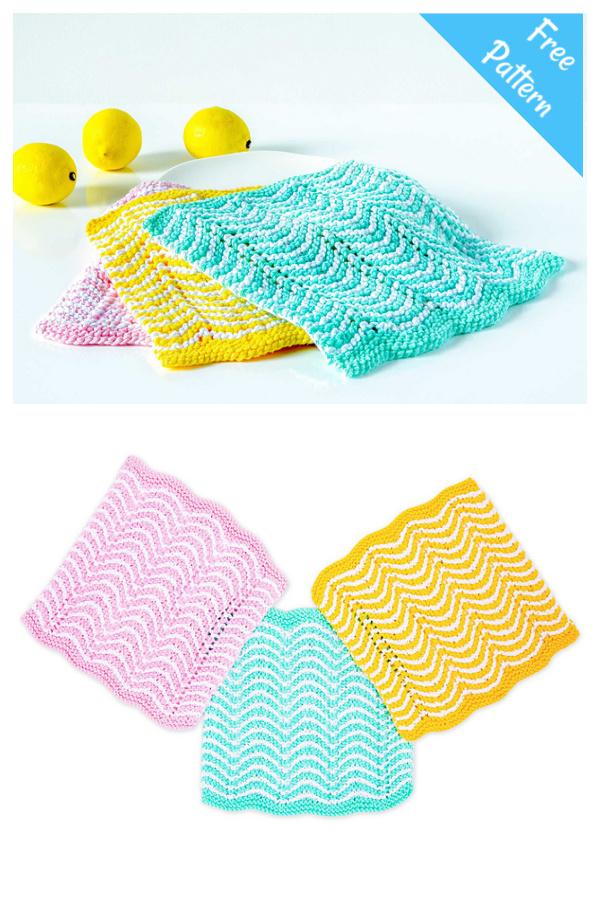Zig Zag Dishcloth Set Free Knitting Pattern