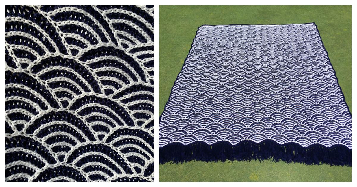 Patró de teixir manta blava de mar lliure
