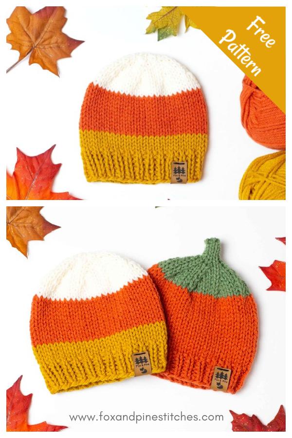 Candy Corn Halloween Hat Free Knitting Pattern