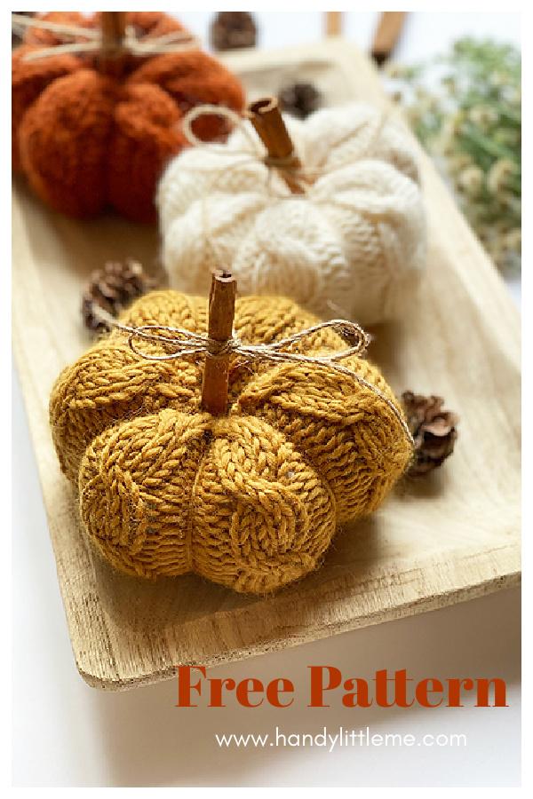 Cinnamon Cable Knit Pumpkins Free Knitting Pattern