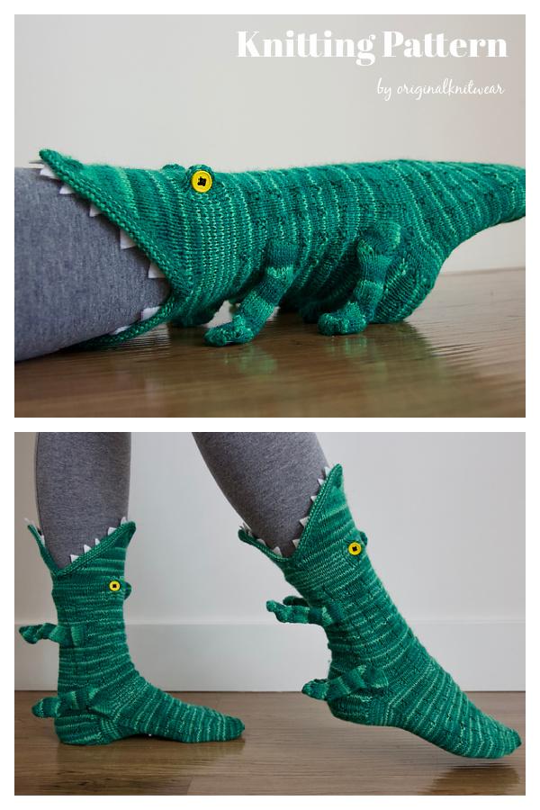 Crocodile Socks Knitting Pattern
