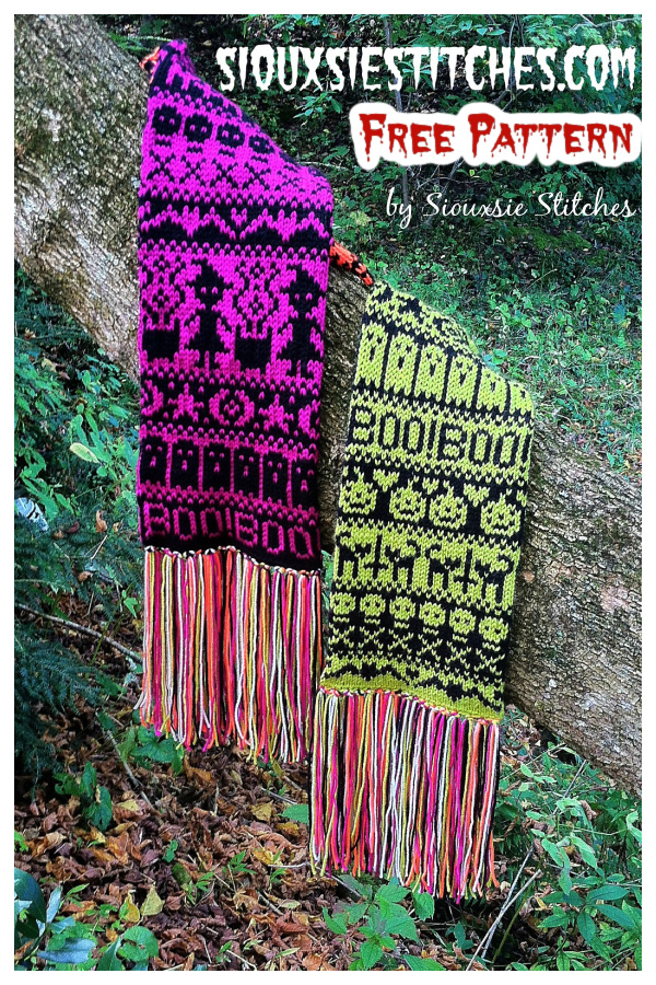 Halloween Fair Isle Scarf Free Knitting Pattern
