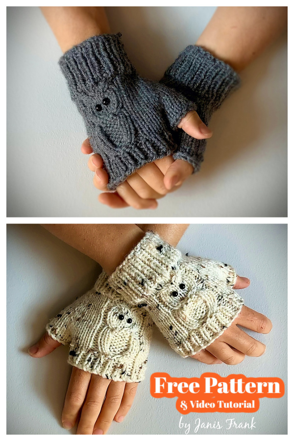 Owl Fingerless Gloves Free Knitting Pattern and Video Tutorial