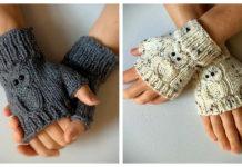 Owl Fingerless Gloves Free Knitting Pattern