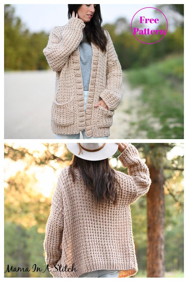 Ribbed Cardigan Free Knitting Pattern