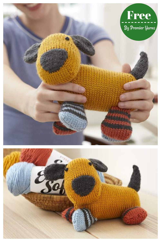 Colorblock Puppy Free Knitting Pattern