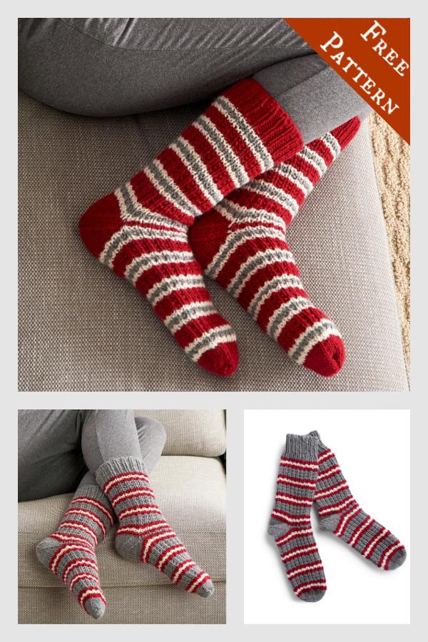 Modèle de tricot gratuit de chaussettes à rayures confortables