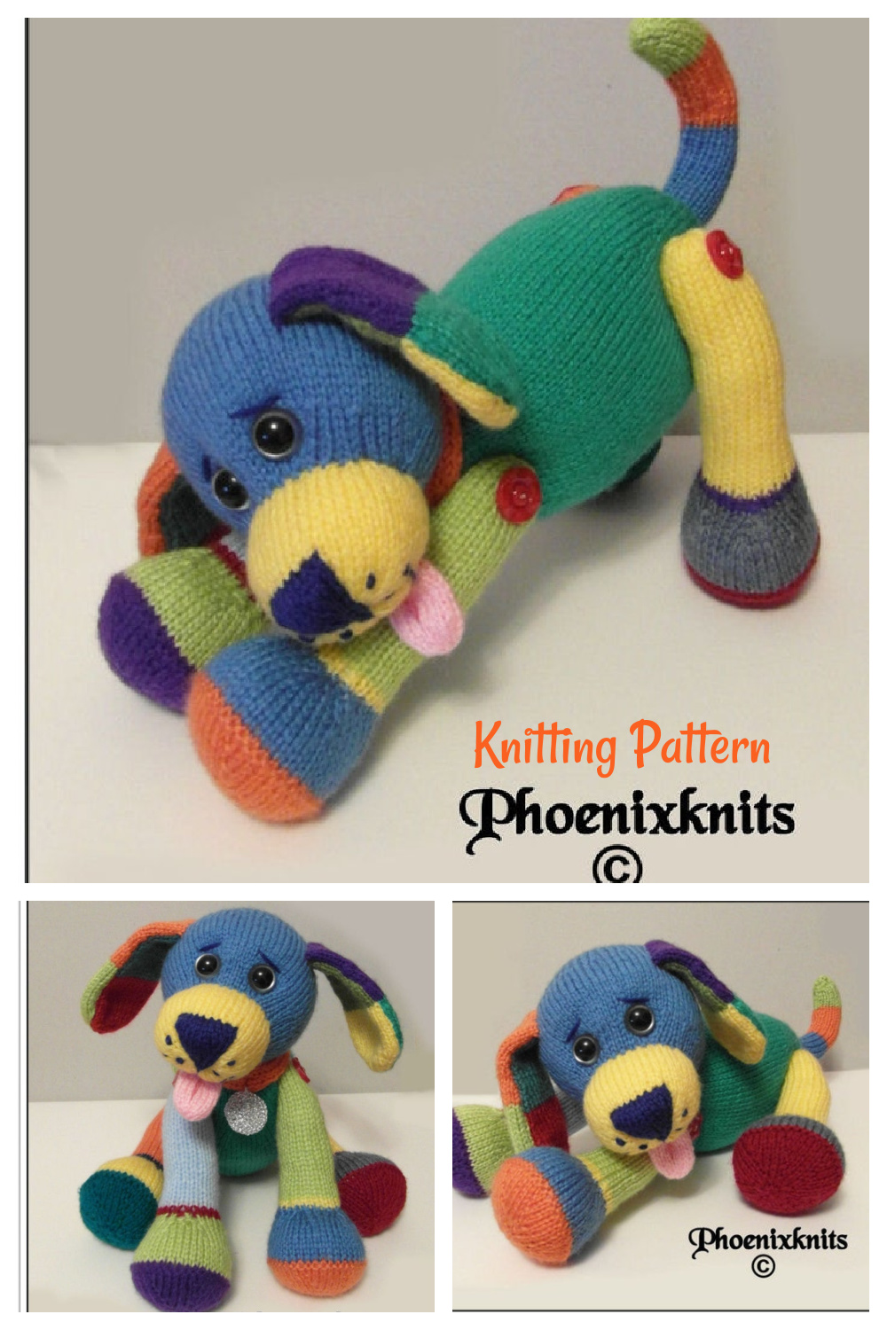 Jacob the puppy with the multi-coloured coat Knitting Pattern