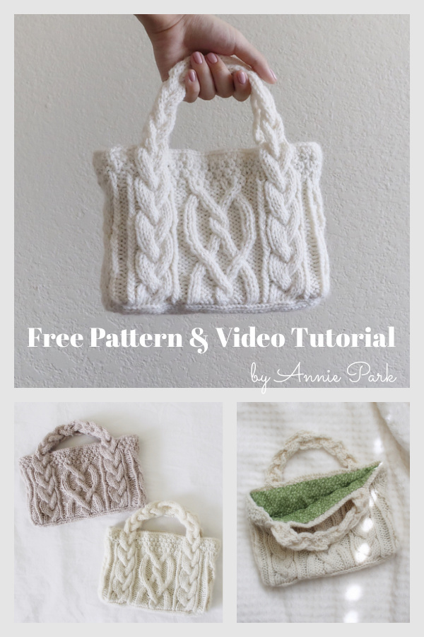 Mini Cable Bag Free Knitting Pattern and Video Tutorial