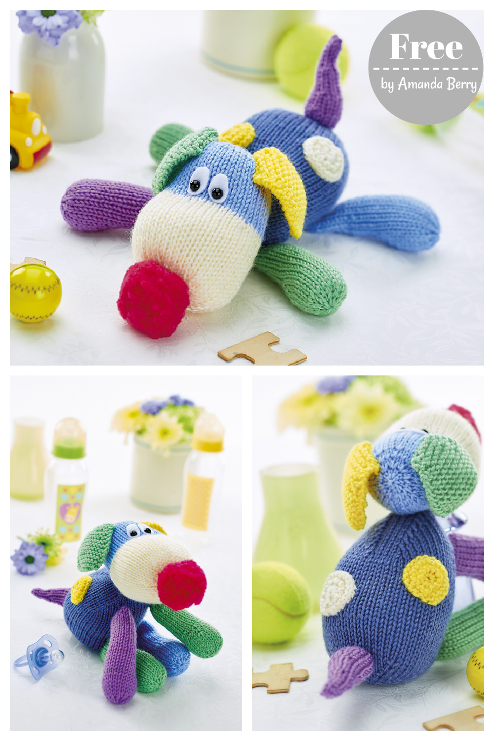 Patch the Puppy Free Knitting Pattern