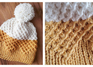 Starry Textured Beanie Free Knitting Pattern