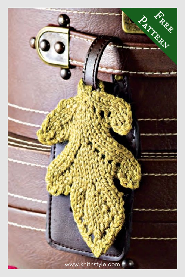 Traveling Oak Leaf Luggage Tag Free Knitting Pattern
